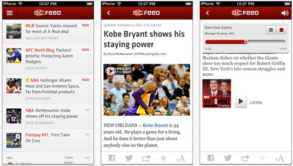 ESPN Sportscenter Feed iPhone