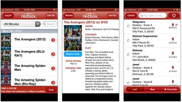 Redbox on iPhone