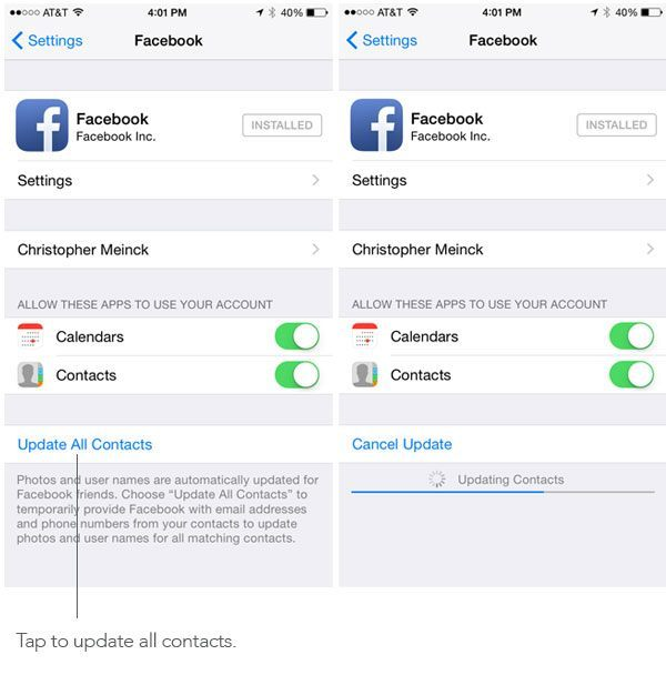 Update contacts Facebook