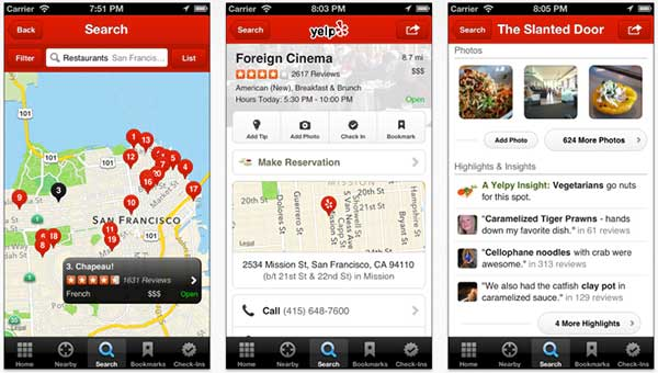 Yelp on iPhone