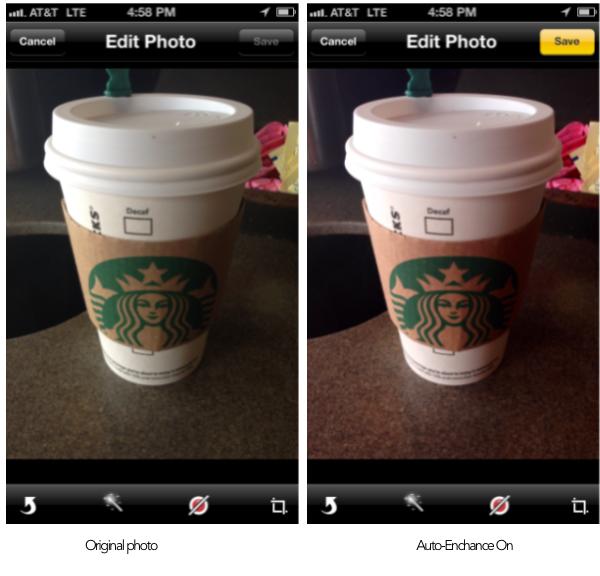 Auto enhance photo iPhone