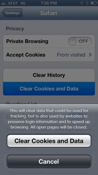 Clear cookies on iPhone