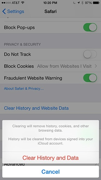 Clear History and Data