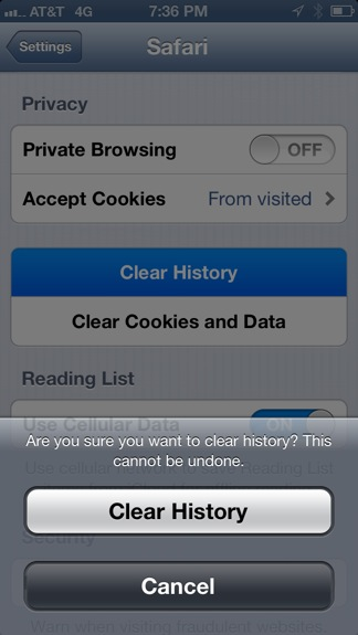Clear history in Safari iPhone, iPad
