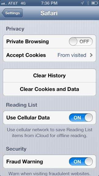 Clear cache, cookies, history Safari