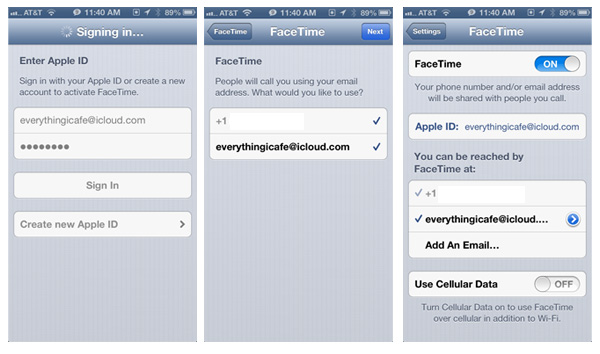 Configure Facetime Apple ID