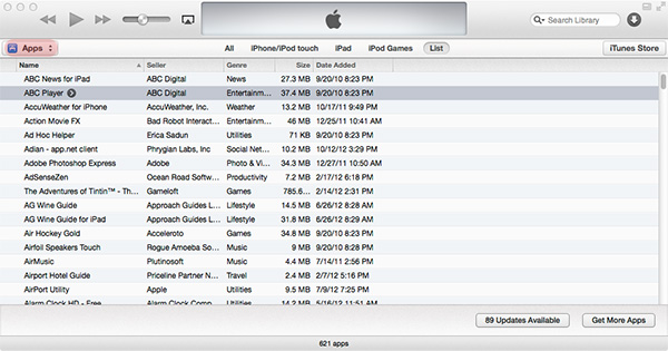 delete apps in iTunes