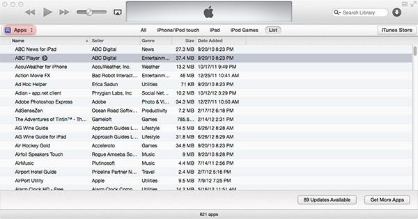 delete apps in iTunes