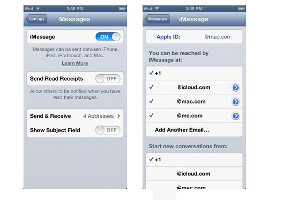 iMessage on iPod touch, iPad