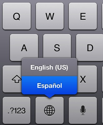 Keyboard language iPad