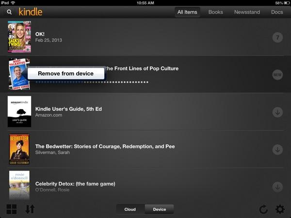 Kindle list view