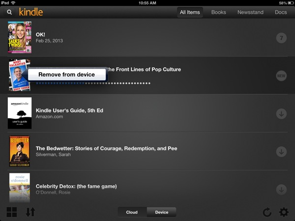 Kindle list view