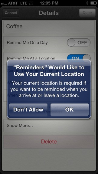 Reminder location