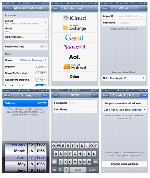 Setup free iCloud account