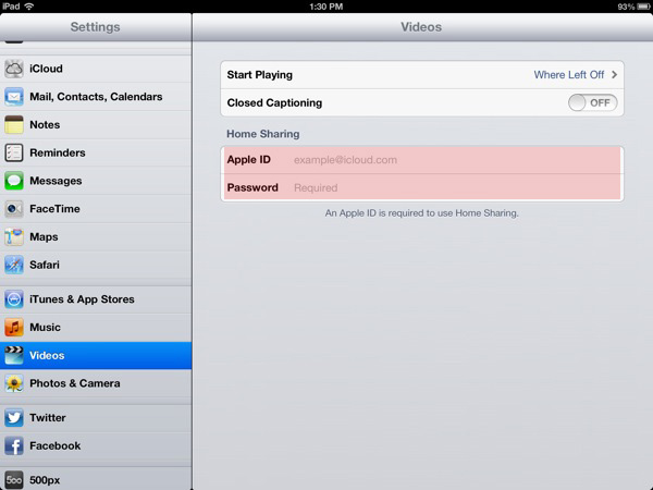 Setup Home Sharing iPad