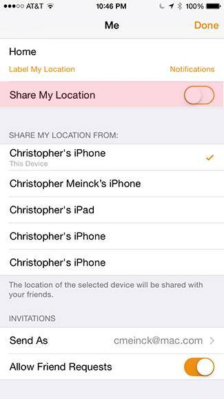 Disable share my location