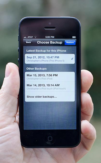 choose backup iCloud restore
