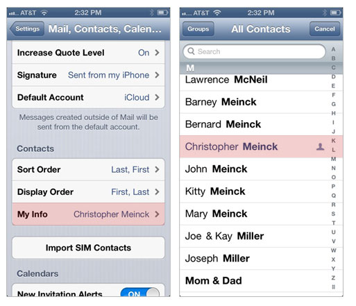 set contact identity iphone