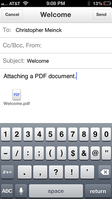 PDF file attached on iPhone