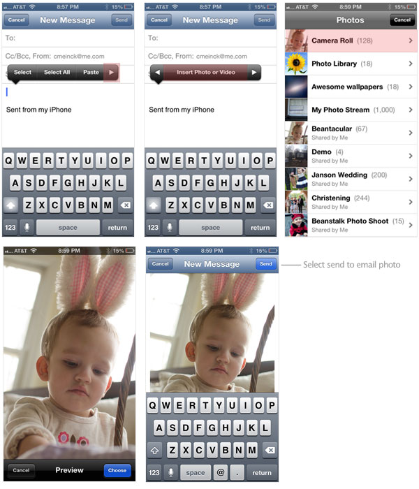 Attach photos to email on iPhone