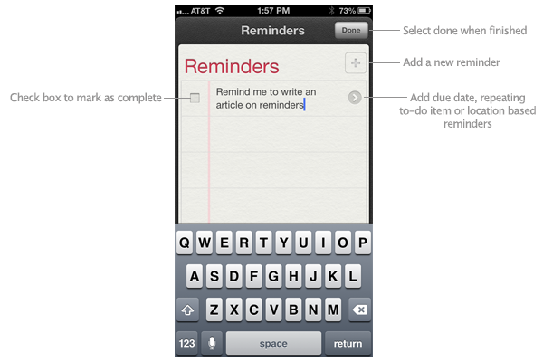 Create reminders in iOS