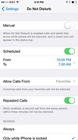 Schedule Do Not Disturb