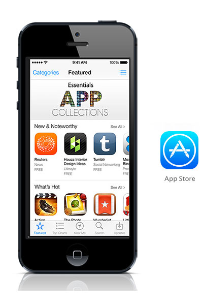 App Store iOS 7 black iPhone