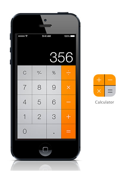 Calculator iOS 7 black  iPhone