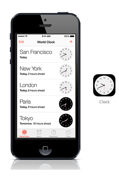 Clock iOS 7 black iPhone