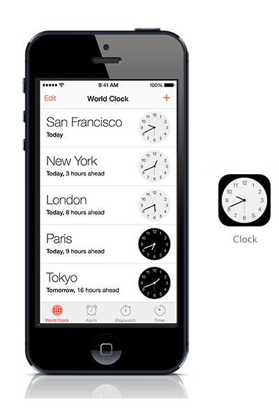 Clock iOS 7 black iPhone