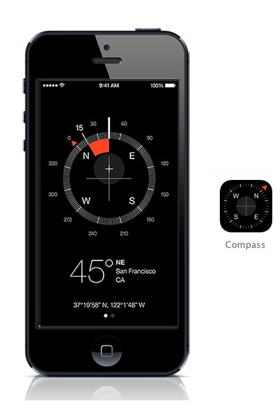 Compass iOS 7 black iPhone