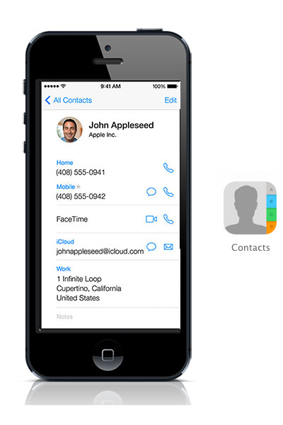 Contacts iOS 7 black iPhone