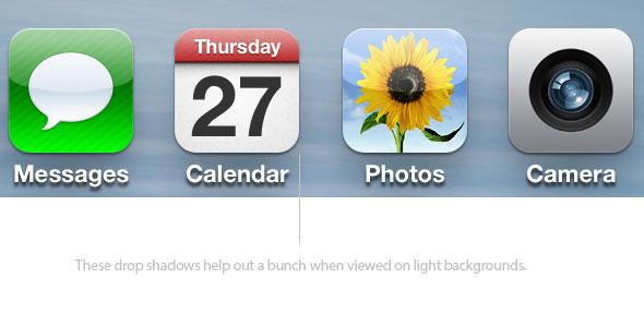 Drop shadows on iOS 6 icons
