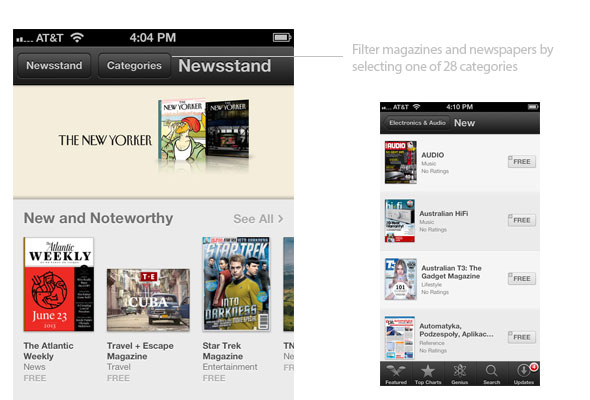 Categories in Newsstand