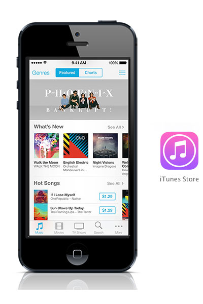 iTunes Store iOS 7 black iPhone