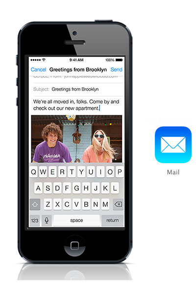 Mail iOS 7 black iPhone