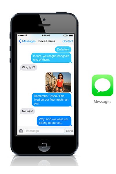 Messages iOS 7 black iPhone