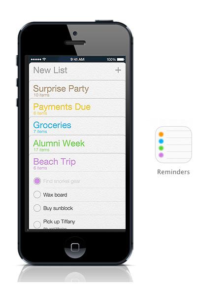 Reminders iOS 7 on black iPhone
