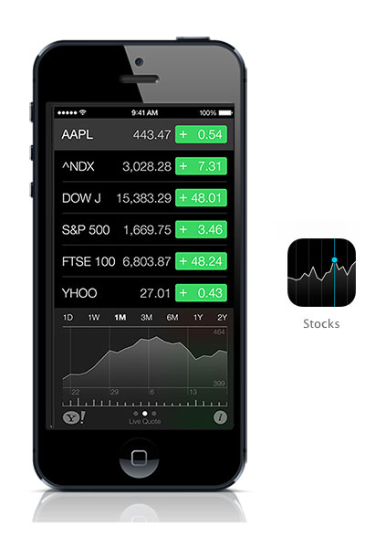 Stocks iOS 7 black iPhone