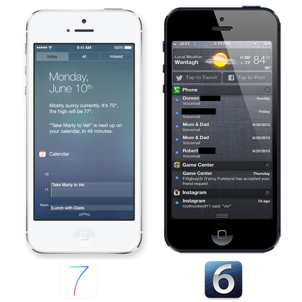 Notification Center iOS 7 vs iOS 6