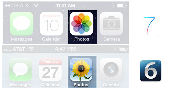 iOS 7 photos vs iOS 6 photos app icon