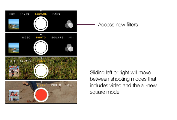Switch shooting modes in iOS 7