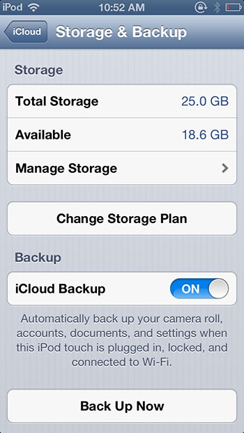 Backup to iCloud iOS 6