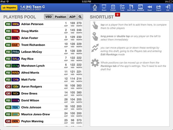 Football Guys draft screen