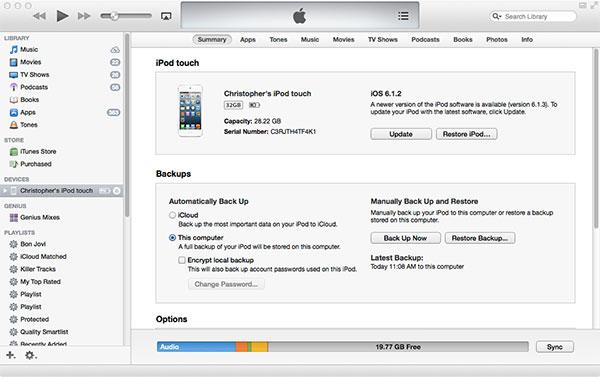 iTunes backup upgrade