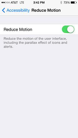 Reduce motion parallax