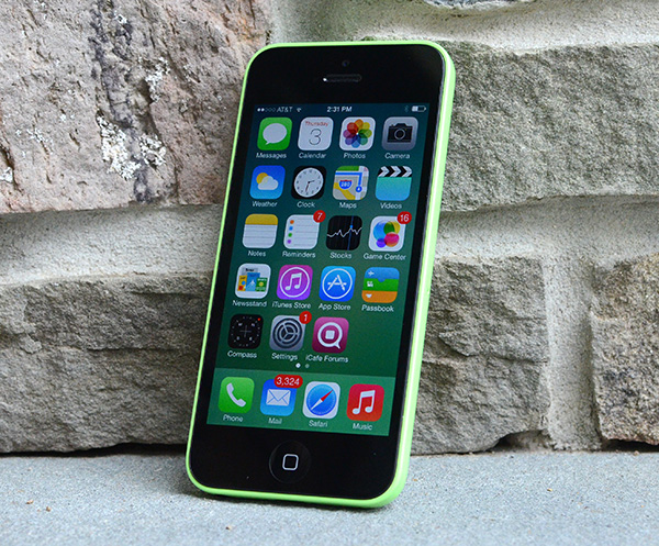 iPhone 5c on concrete