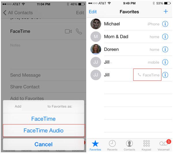 FaceTime audio favorites