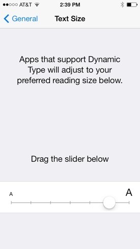 Increase text size iPhone