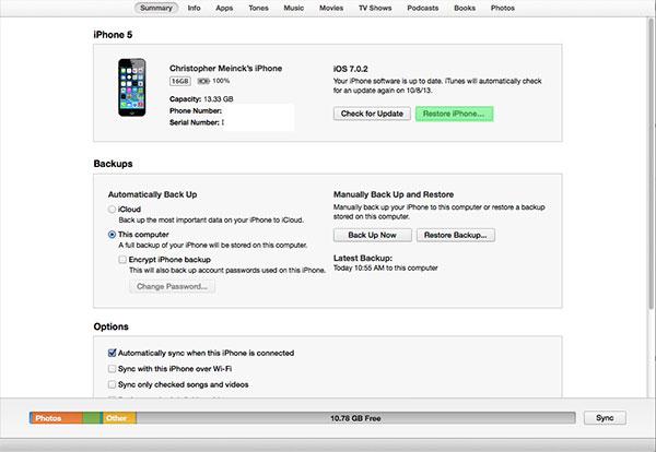 Restore iPhone to iOS 7